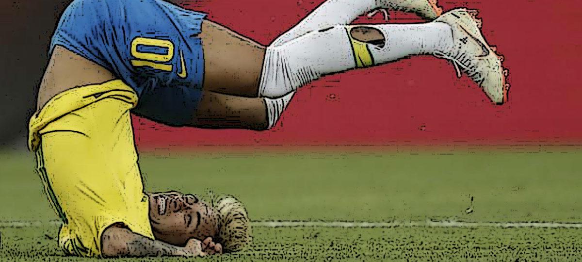 Neymar de cabeça para baixo no campo